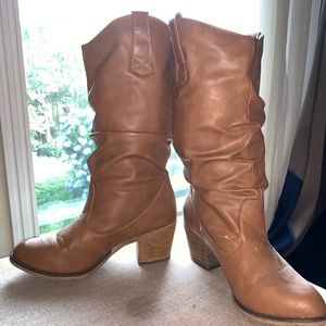 Brown Beige Mid-calf Boots